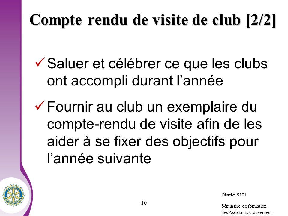 Compte rendu de visite de club [2/2]